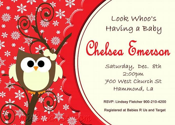 Baby Shower Owl Invitations Printable Winter by Mis2Manos on Zibbet