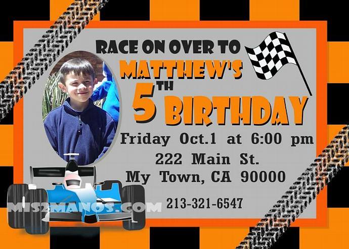 Race Car Birthday Invitation Race Car Birthday by Mis2Manos on Zibbet