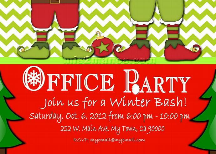 Christmas Office Party Invite Printable by Mis2Manos on Zibbet