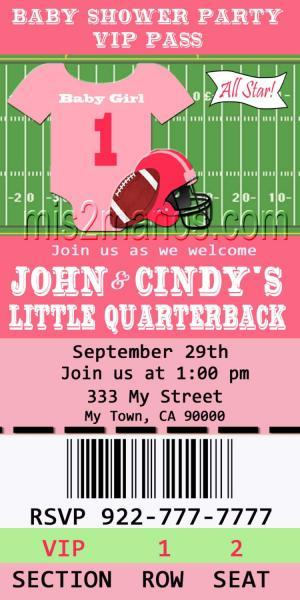 Football Baby Shower Printable Ticket by Mis2Manos on Zibbet