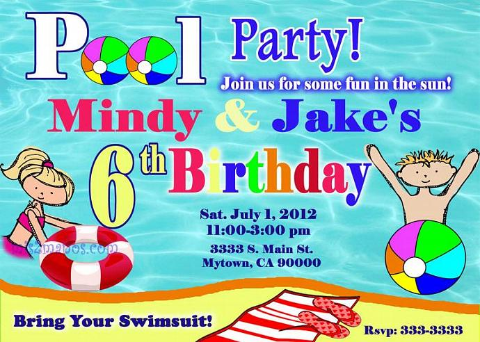 Pool Party Invitation Girl and Boy Party Print by Mis2Manos on Zibbet