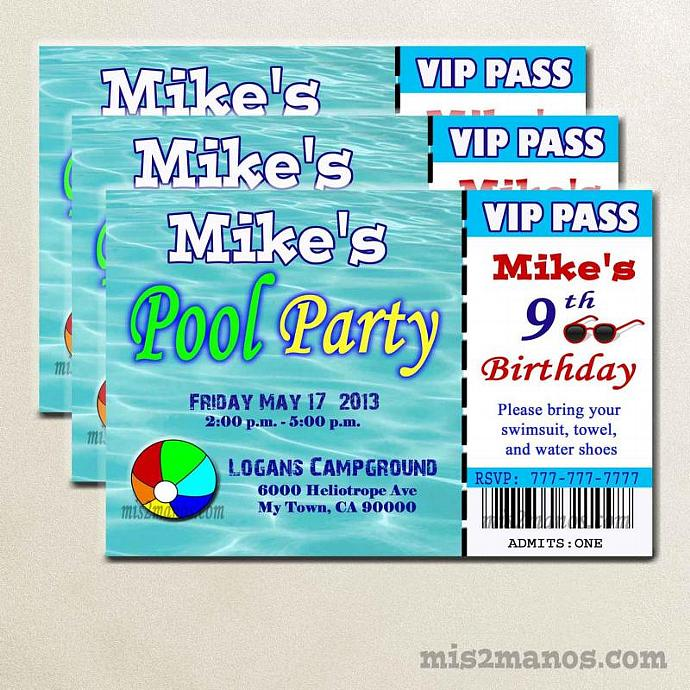 Pool Party Ticket Invite- Printable Birthday by Mis2Manos on Zibbet - party ticket invitations