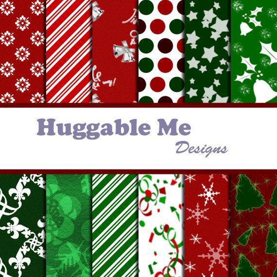Printable Christmas Paper - Digital by HuggableMeDesigns on Zibbet