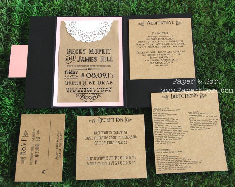 Rustic Wedding Invitation - Pocket Fold by PaperNSort on Zibbet