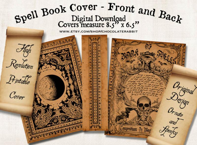 Halloween Witch Spell Book Cover ChocolateRabbitGraphics