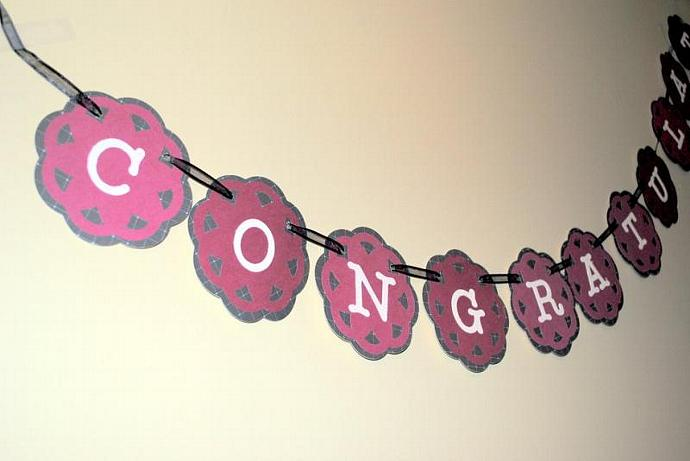 Congratulations Banner, Bridal Shower by MVPaperCreations on Zibbet