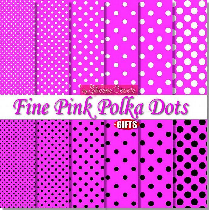 Fine Pink Polka Dot Digital Paper Pack DIY by DIGIFT on Zibbet
