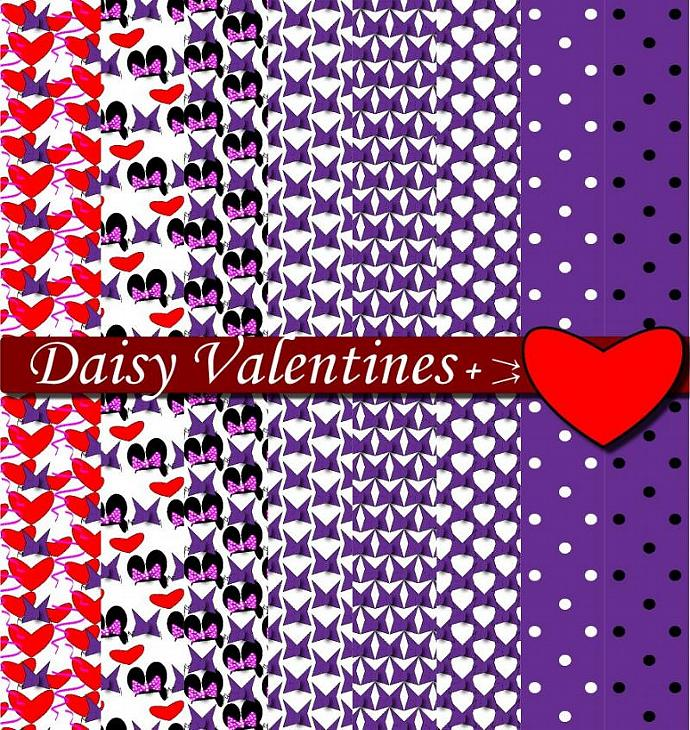 Daisy Purple Heart Digital Scrapbook Sheets DIY by DIGIFT on Zibbet