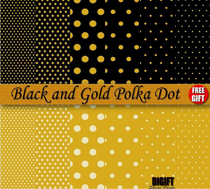 Black and Gold polka dot digital paper clipart by DIGIFT on Zibbet