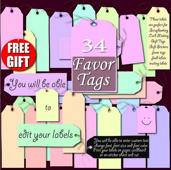 Digital Label Clip Art printable label favor tag by DIGIFT on Zibbet