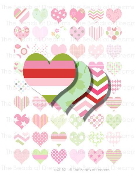 54 mixed color heart pink green 1 inch 25mm by khalliahdesign on