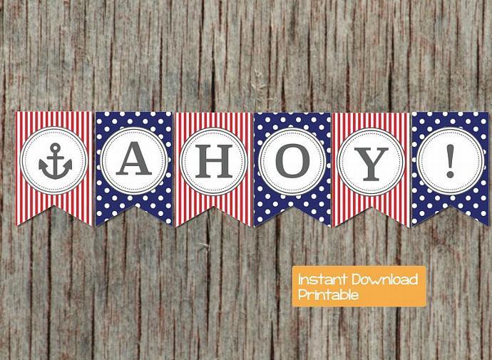 Nautical Anchor Baby Shower Banner by bumpandbeyonddesigns on Zibbet