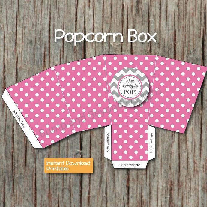 DIY Popcorn Box Printable Box Baby by bumpandbeyonddesigns on Zibbet