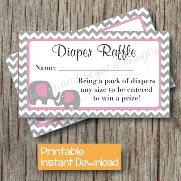 Diaper Raffle Tickets Baby Shower Gum by bumpandbeyonddesigns on