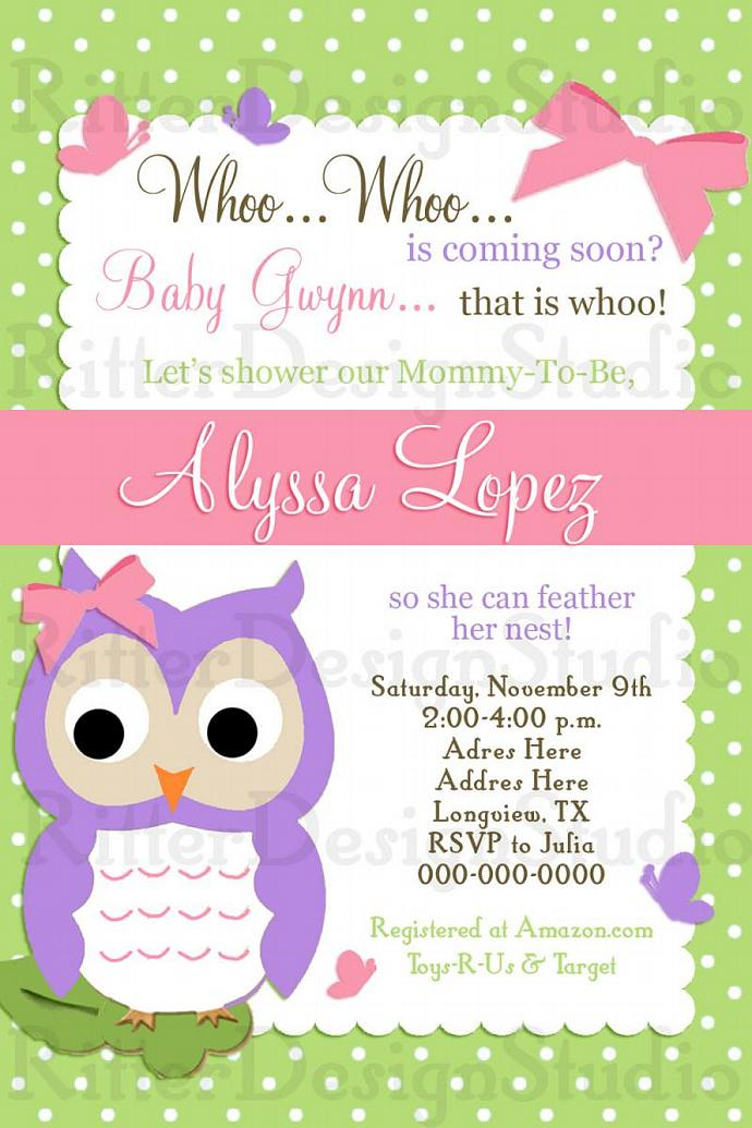Whoo Whoo Owl Baby Shower Invitation - by RitterDesignStudio on Zibbet