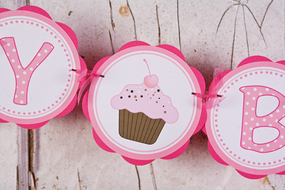 Cupcake HAPPY BIRTHDAY Banner - Cupcake by GetThePartyStarted on