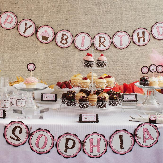 First Birthday Banner - Cupcake by GetThePartyStarted on Zibbet