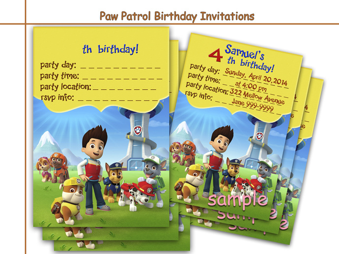 Amazing Paw Patrol Birthday Invitations, by HolidayPartyStar on Zibbet