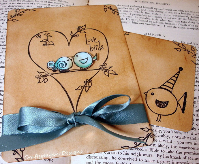 Love Bird Wedding Invitations With by CraftyPagan Designs on Zibbet