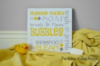 Yellow and Gray Bath Subway Art by Dandelion Wishes Design ...