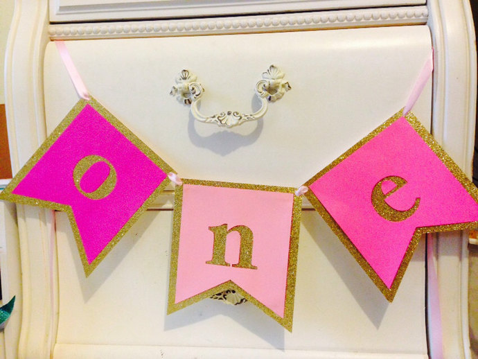 FIRST BIRTHDAY BANNER Pink and gold girls\u0027 by MagnoliaOlive on - first birthday banner