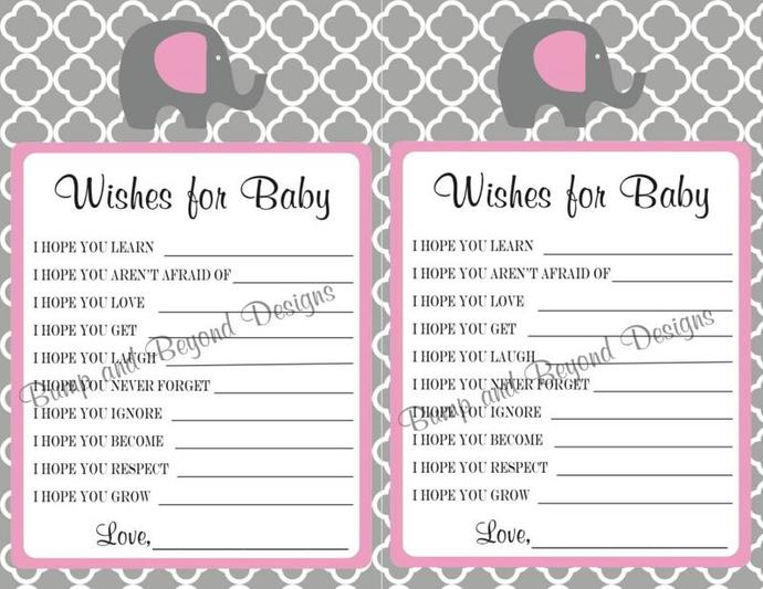 Wishes for Baby Printable Baby Shower bumpandbeyonddesigns