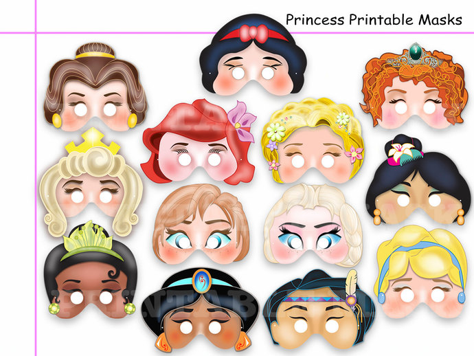 Unique Princess Party Printable Masks by HolidayPartyStar on Zibbet