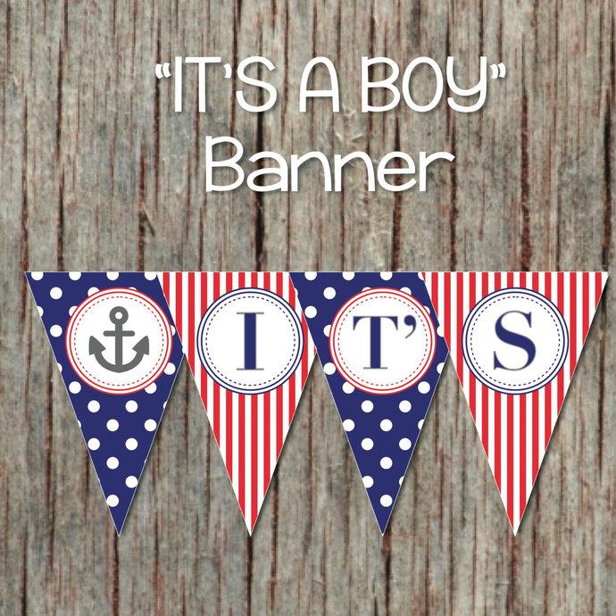 It\u0027s a Boy Printable Nautical Baby by bumpandbeyonddesigns on