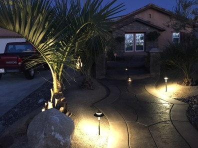 Outdoor lights illuminating landscape.