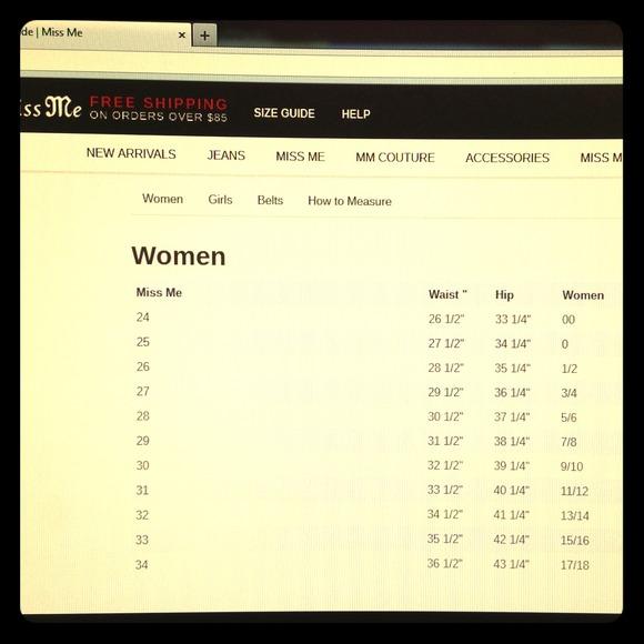 Women\u0027s Miss Me Jean Size Chart on Poshmark