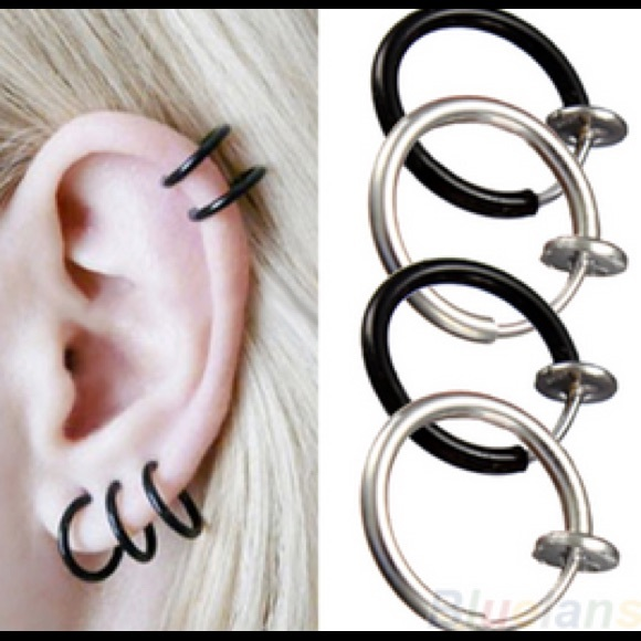 Black clip on hoop earring OS from !! gabby's closet on