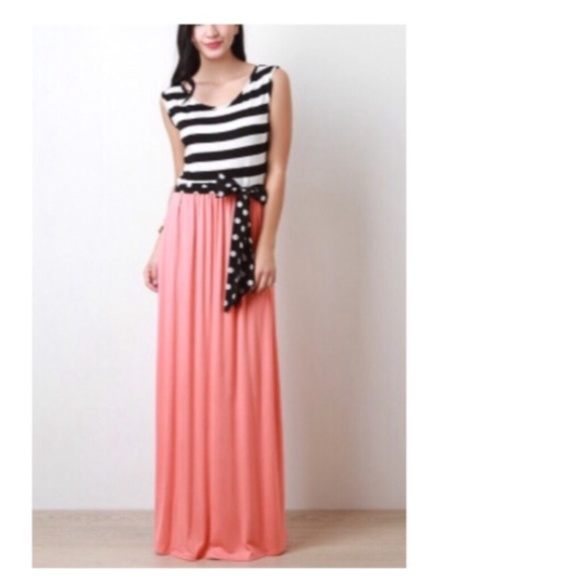 Dresses Coral Bw Striped Polka Dot Maxi Dress Poshmark - stripes with polka dots