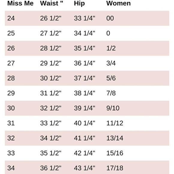 miss me size chart - Morenimpulsar