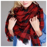 47% off Accessories - Red and black plaid blanket scarf ...