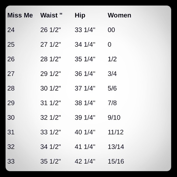 Women\u0027s Miss Me Size Chart on Poshmark
