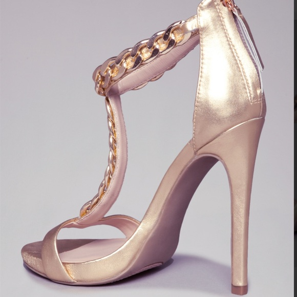 Bebe Shoe 50% Off Bebe Shoes - Bebe T-strap Chain Gold Heels From