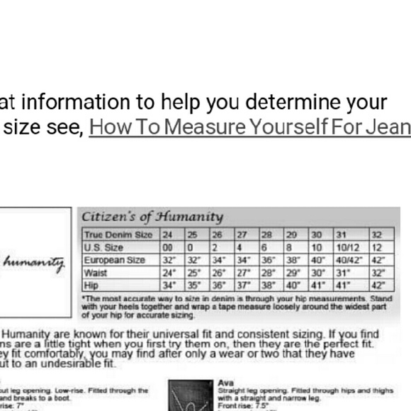 Citizens of Humanity Jeans Size Chart Poshmark
