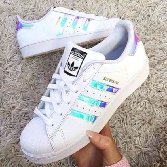 Adidas Shoes Sz7 Superstar Hologram White Metallic Orig Poshmark