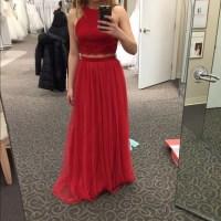 David's Bridal Dresses | Red Two Piece Prom Dress | Poshmark