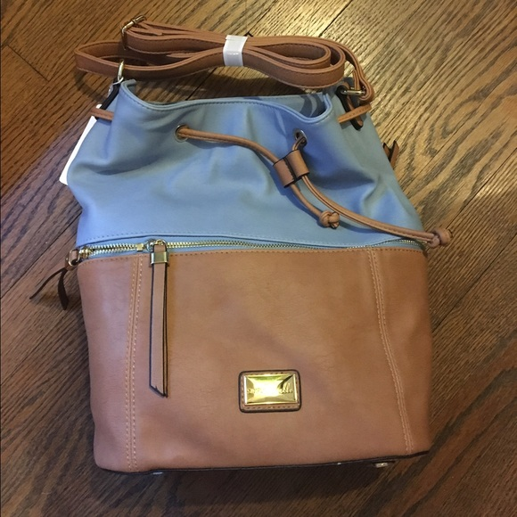 Simply Noelle Bags Blue And Tan Leather Bucket Bag Nwt Poshmark