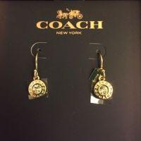 67% off Coach Jewelry - Coach Pave & Gold Circular Drop ...