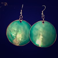 67% off Jewelry - Ocean Blue Mother of Pearl Gold Earrings ...