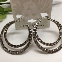 Anne Klein - New! Anne Klein Textured Silver Hoop Earrings ...