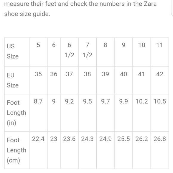 Shoes Zara Shoe Size Chart Poshmark