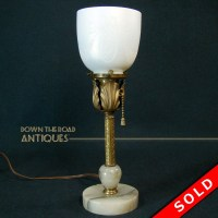 Steuben Marble and Brass Boudoir Lamp