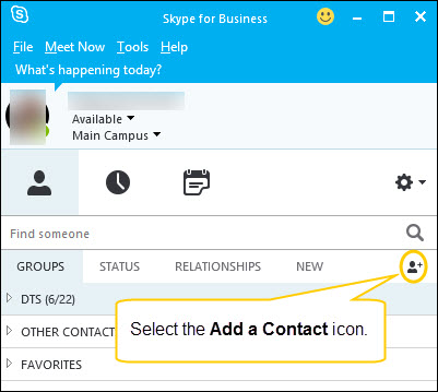 Working with Contacts in Skype for Business for Windows \u2013 Dornsife