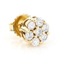 Mens Diamond Cluster Earring 14K Gold 1/2ct Single Stud