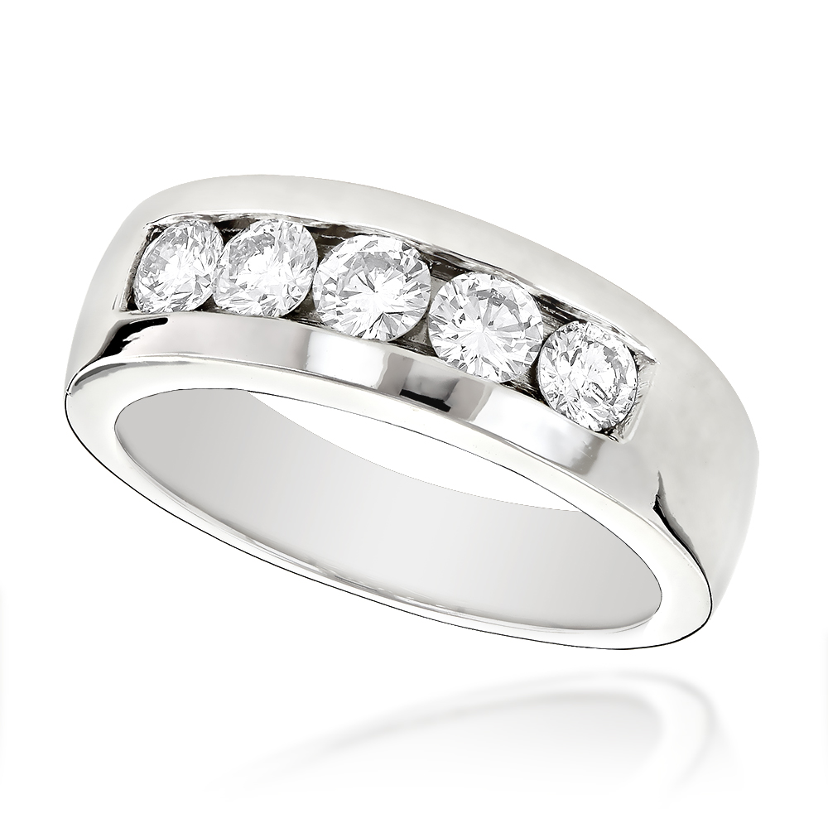 Platinum Men's Diamond Wedding Ring 1ct
