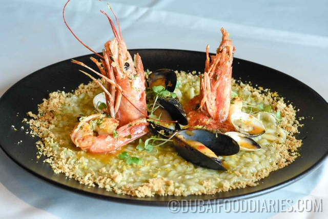 Seafood risotto at 24 Karat Restaurant, Marriott al Jaddaf, Oud Metha, Dubai