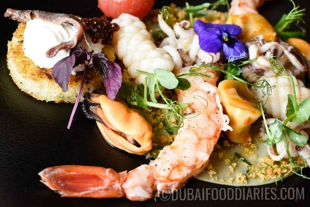 Seafood pasta salad at 24 Karat Restaurant, Marriott al Jaddaf, Oud Metha, Dubai